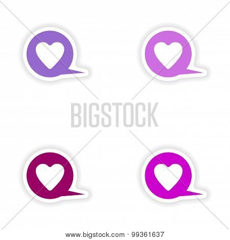 assembly realistic sticker design on paper logo heart