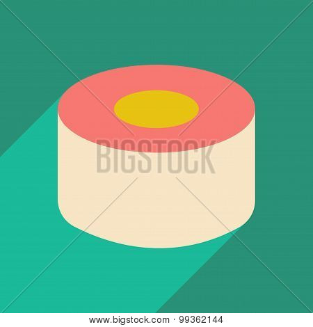 Flat with shadow icon and mobile application sushi