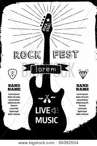 Rock Festival Poster. Vector Illustration Eps 10
