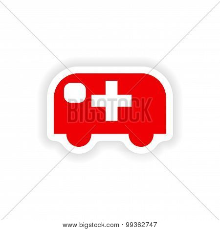 icon sticker realistic design on paper ambulance