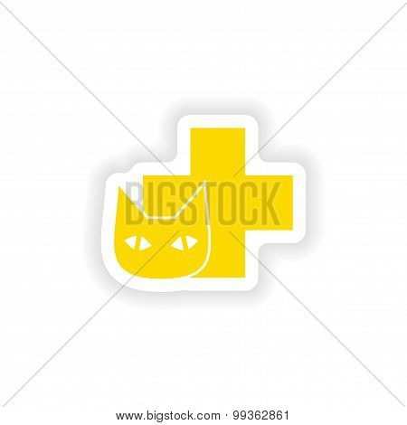 icon sticker realistic design on paper Veterinary