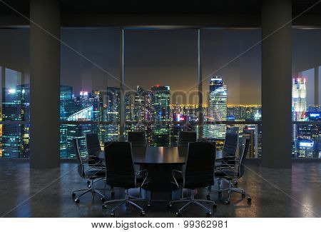 Panoramic Conference Room In Modern Office, Cityscape Of Singapore Skyscrapers At Night. Black Chair