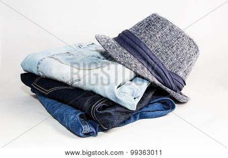 Set Of Various Clothes And Accessories For Men Isolated On White Background
