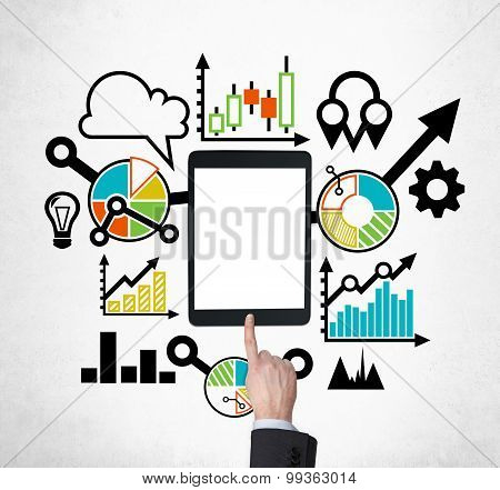 A Tablet, Digital Device With Copy Space Screen Is Surrounded By Drawn Colourful Business Icons. A H