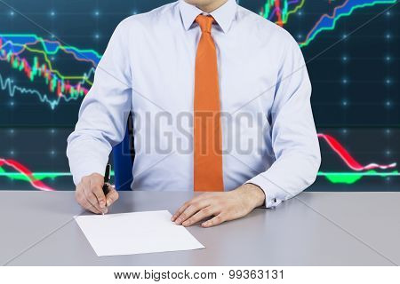 Businessman And Contract Signing Process. Forex Chart On The Background And Night Business City.