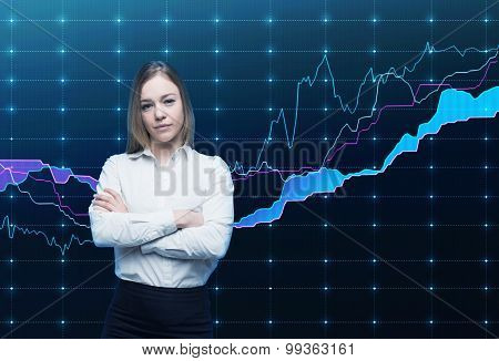 Closeup Of Beautiful Portfolio Manager With Crossed Hands In Formal Shirt. A Concept Of Decision Mak