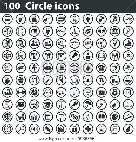 100 circle icons set