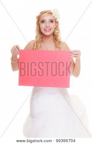 Wedding Day. Woman Bride Holding Sign Red Blank
