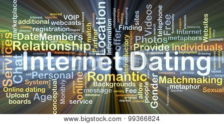 Background concept wordcloud illustration of internet dating glowing light