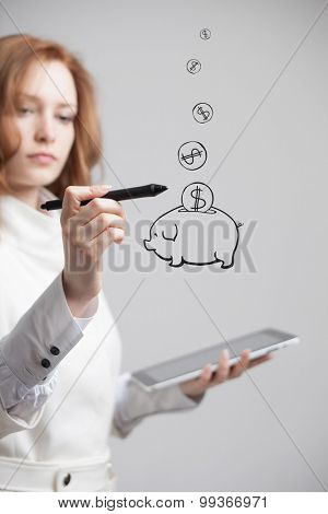 young businesswoman woman drawing a piggy Bank