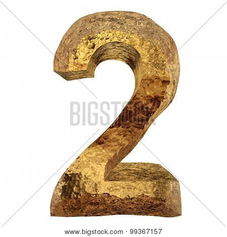 High resolution concept or conceptual 3D yellow shiny gold golden metal font number isolated on white background