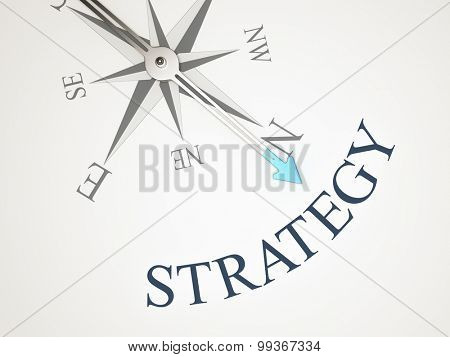 An image of a nice compass with the word strategy