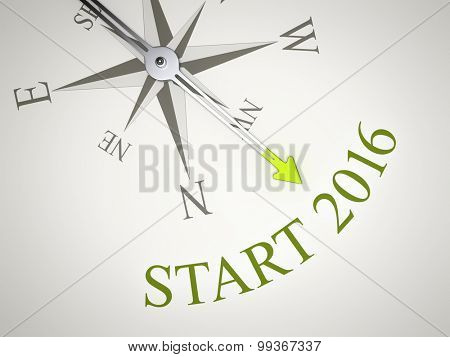 An image of a nice compass with the word start 2016