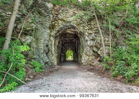 MKT tunnel on Katy Trail at Rocheport, Missouri. The Katy Trail is 237 mile bike trail stretching across most of the state of Missouri converted from an old railroad.