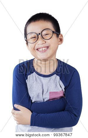 Cute Boy With Casual Clothes And Glasses