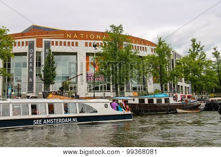 Embankment And The Ships Near The Building National Opera And Ballet In Amsterdam