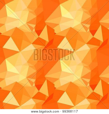Vector polygonal geometric abstract seamless pattern in orange colors
