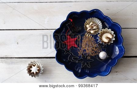 Chistmas Plate With Cookies And Cookie Cutter