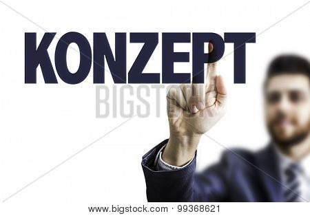 Business man pointing the text: Plan (in German)