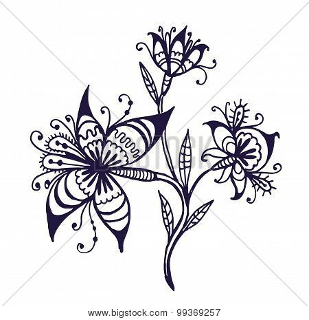 flowers on a branch doodle vector illustration