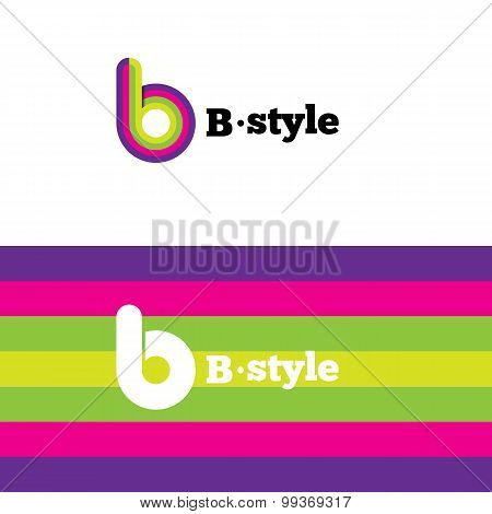 Vector modern abstract logo. B letter logotype with stripes