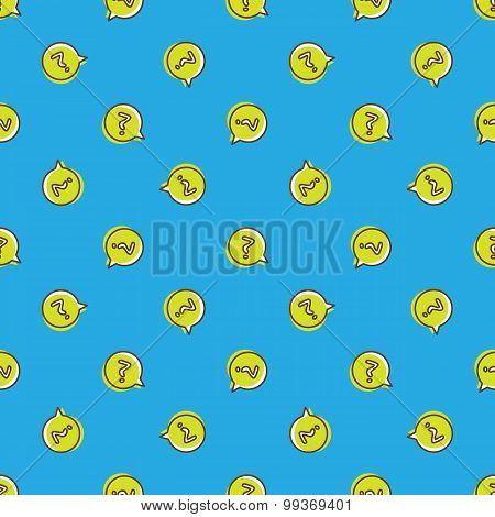 Vector question signs in speech bubble seamless pattern.