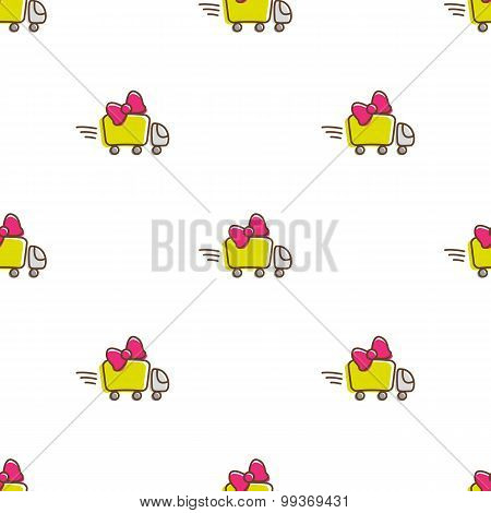 Vector truck icons seamless pattern. Funny gift delivery background