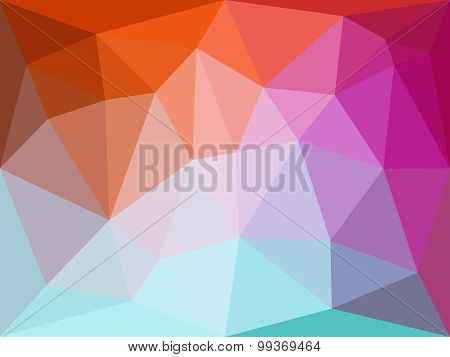 Vector polygonal geometric abstract background in orange, blue and violet colors