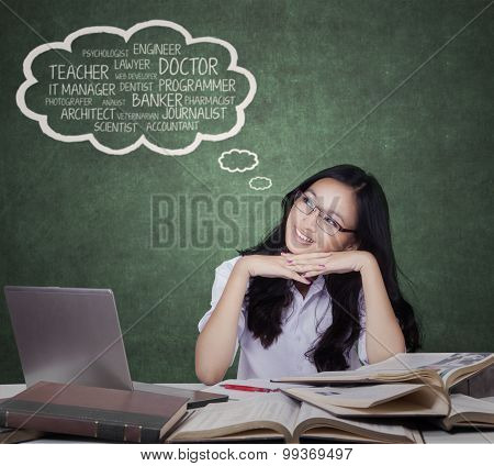 Teenage Girl Imagine Her Future Jobs