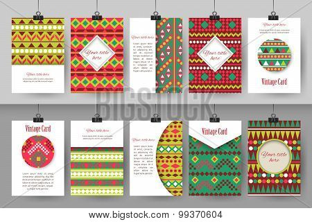 Set of creative vintage card templates . Best creative hand made design for poster, placard, brochur