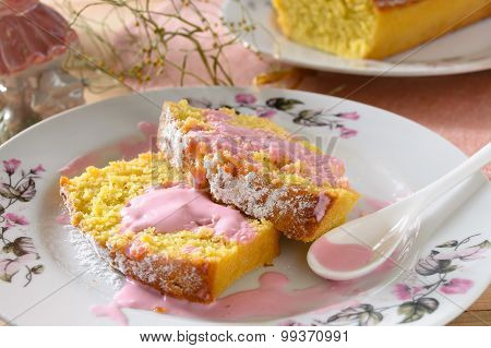 Yellow pumpkin cake with Berry Sauce