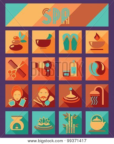Set of spa and beauty flat icons. Healthcare salon, haircut, skin care, herbal therapy, cosmetics ve