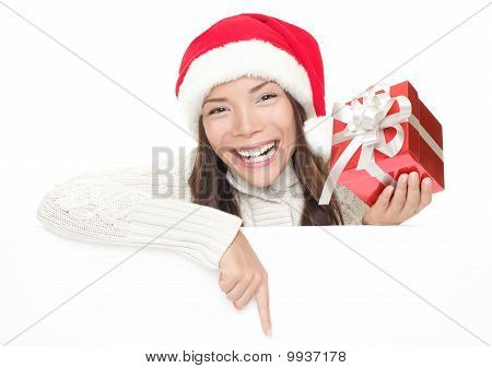 Christmas Girl Leaning Over Billboard Sign