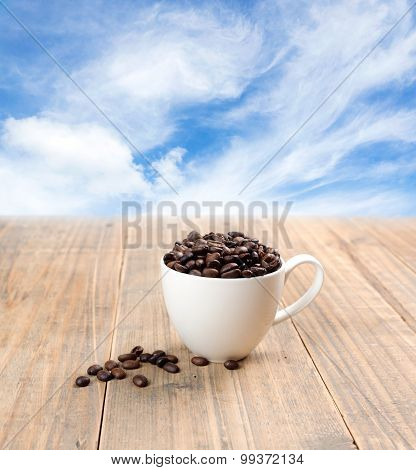 Coffee Bean In White Cup