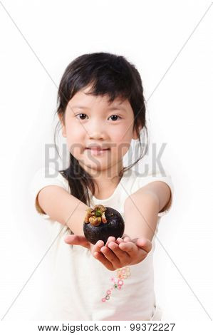 Young Asian Girl Hold Mangosteen