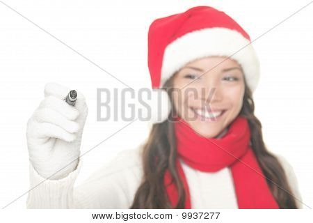 Christmas Woman Writing On Copy Space