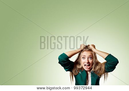 Portrait Headshot Very Sad Depressed, Stressed Disappointed Gloomy Young Man Head On Hands Screaming