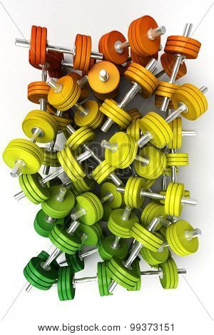 3D rendering of a pile of dumbbells in orange, green and yellow