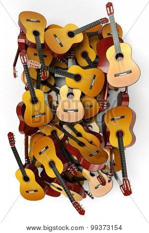 3D rendering of a heap of guitars