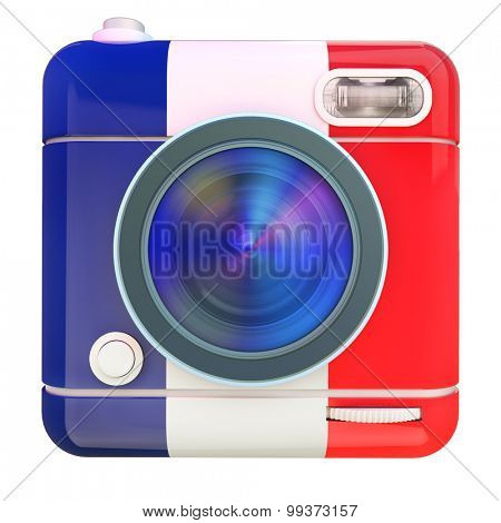 3D rendering of a photo camera icon with a French flag colors