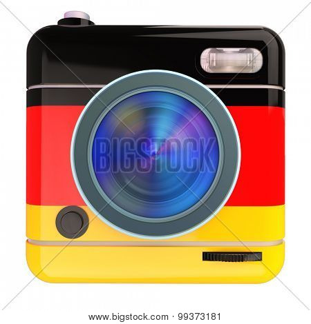3D rendering of a photo camera icon with a German flag colors