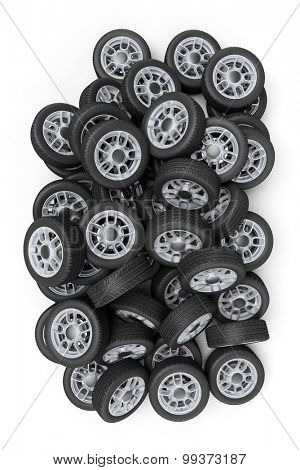 3D rendering of a pile of wheels