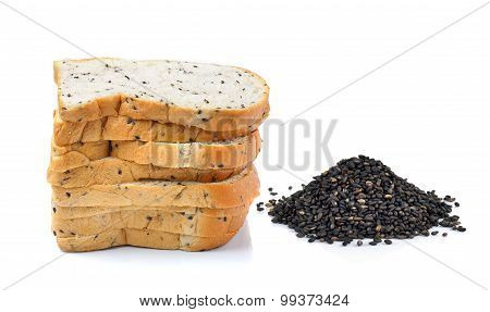 Bread With Sesame And Sesame On White  Background