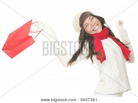 Christmas Shopping Woman With Gift Bag