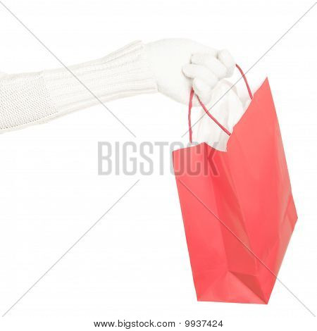 Winter Christmas Shopping Bag Isolated