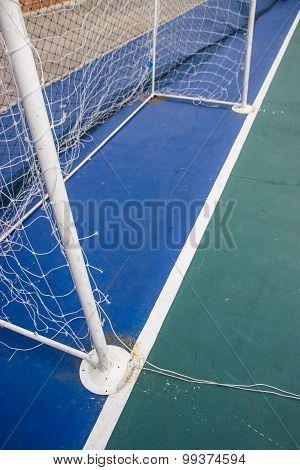 Goal Nets Futsal In Futsal Field.