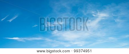 Panorama Shot Image Of Clear Sky With White Clouds On Day Time For Background Usage