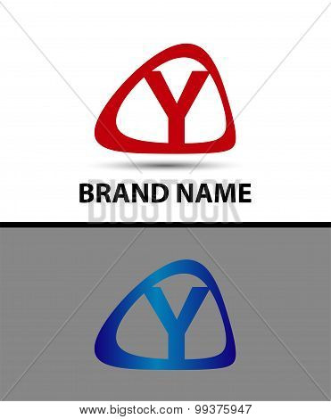 Symbol of letter Y in circle. template logo design