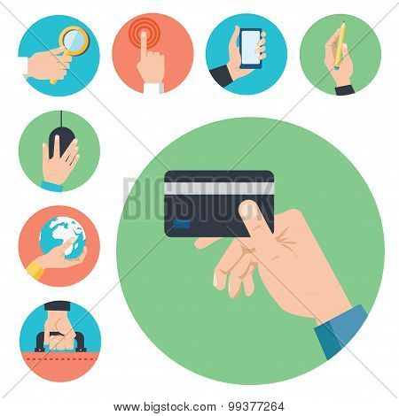 Hands with business object icons set,