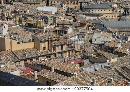 overlooking the rooftops of the city of Toledo in Spain